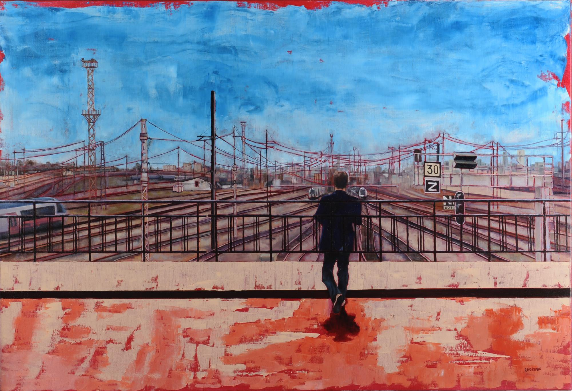 Crossing Lines painting by Amanda Rackowe