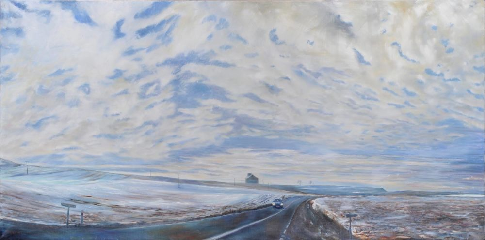 The Enormity of Sky: Winter Silo painting by Amanda Rackowe