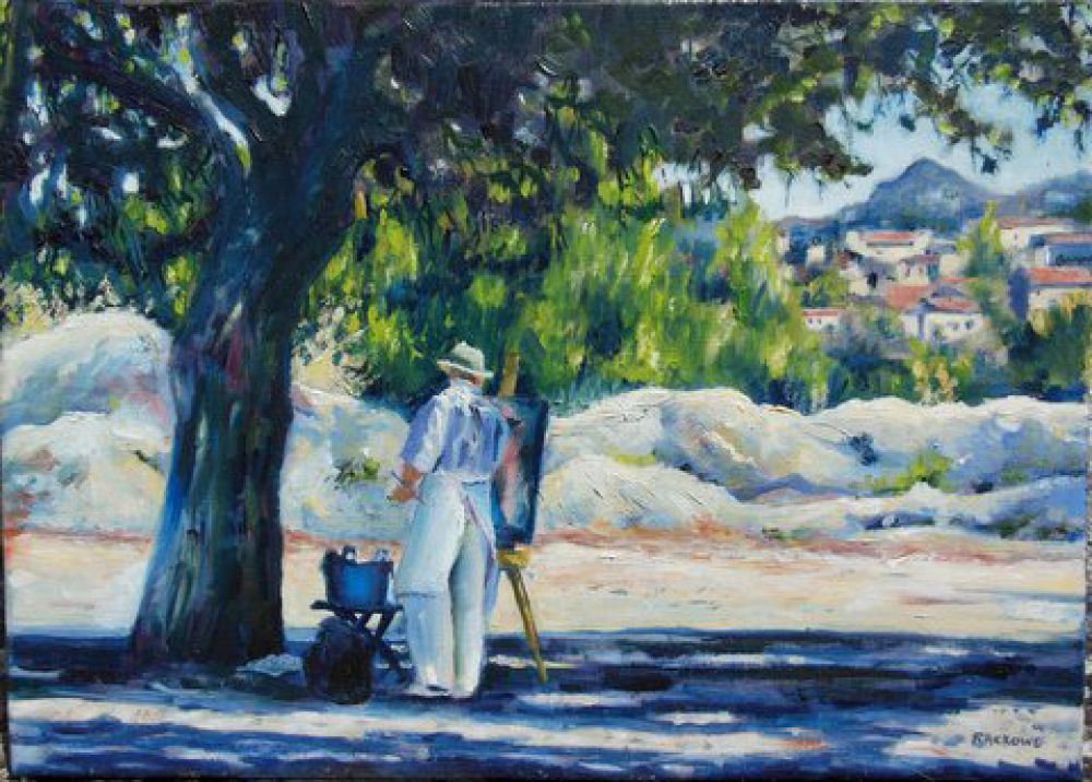 Painter at Baux-de-Provence painting by Amanda Rackowe