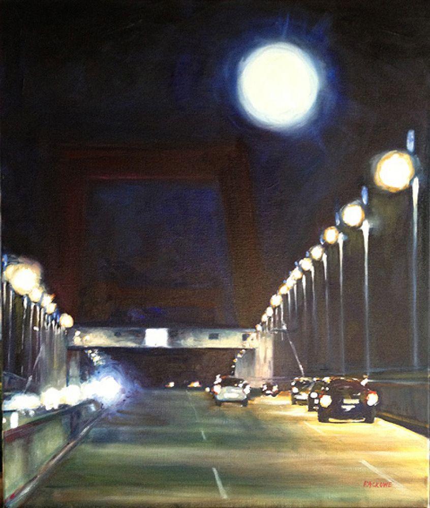 Le Pont d'Aquitaine à La Nuit painting by Amanda Rackowe