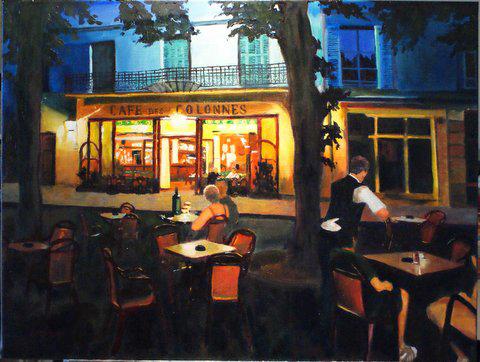 Soiree à la Café des Colonnes painting by Amanda Rackowe