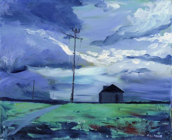 Stormy Silo painting by Amanda Rackowe